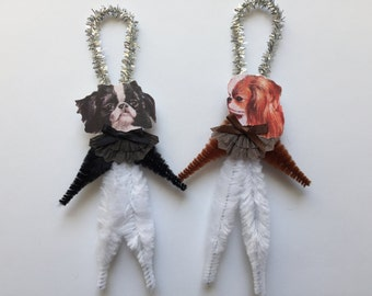 JAPANESE CHIN ornaments dog ORNAMENTS vintage style chenille ornaments set of 2
