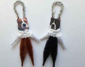 PITBULL TERRIER ornaments dog ORNAMENTS vintage style chenille ornaments set of 2