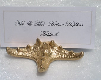 Place Card Holder + Beach Wedding + Gold Starfish Place Card Holders (Set of 25)