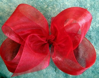 X Large KING Size Sheer Organza Hair Bow in Red