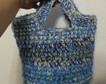 Catch All Basket Bag with Handles Shades Blue Green Maroon and White