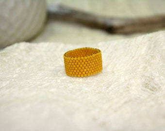 Yellow Ring, seed beaded Ring, alternative Engagement Ring, beaded jewelry