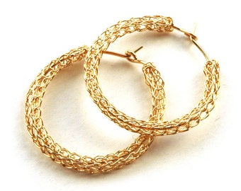 Wire crochet Earrings  Gold hoop earring - Small hoop earings  - Medium gold earring - crochet hoop earring - boho earring