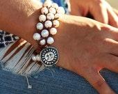 Sun Jewelry, Sun Bracelet, Sterling Silver Sun Jewelry, Sterling Silver Sun Charm Bracelet, Knotted Leather and Pearl Bracelet in Silver