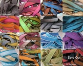 Hand Dyed Silk Ribbons, Extra Yoga Wrap Bracelet Replacement Fairy Crinkle Ribbons, Emerald Green, Hot Pink, Orange, Sky Blue, Sage, Gray