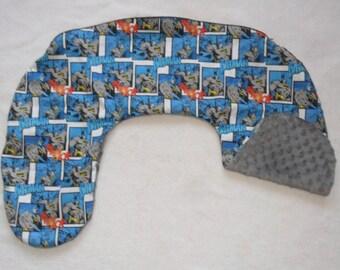 D C Comics Batman and Gray Minky Dot Nursing Pillow Cover Fits Boppy