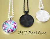 5 DIY SIMPLE...  Makes 5 Round Necklaces Pendant Making Glass Tiles + Trays Bezels + Chains  Round 25mm Kit Silver Plated or Black 1 inch