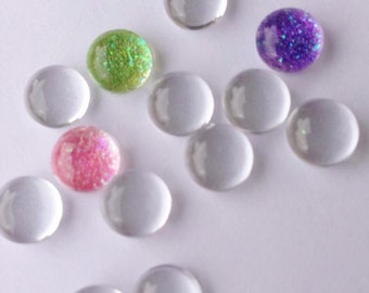 20 Clear 8mm Glass Domes Cabochons Circles Cab Inserts Earrings Rings Charms Tiles Tiny