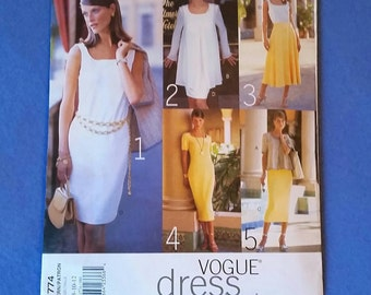 Uncut Vogue Dress Wardrobe Sewing Pattern - 1774 - sizes 8, 10, 12 - Misses'/Misses' Petite Jacket, Dress, and Skirt