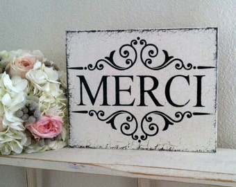 SALE, READY to SHIP, Thank You, Merci, Thank You Sign, French Sign, Wedding Sign, Bride and Groom Signs, Mr. and Mrs. Signs, 8 x 10