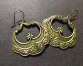 Boho Earrings, Hoop Earrings, Large Hoops, Bohemian, Gypsy Earrings, Gold, Bold Earrings, Art Deco Earrings, Etched, Gold Patina, Ethnic