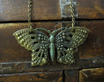 Butterfly Necklace, Woodland Necklace, Moth, Butterfly Jewelry, Green, Gold, Nature Inspired, Woodland, Butterfly Wings, Butterfly Lover