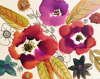 Just Some Flowers Original 5x7 Alcohol Ink Painting on Yupo