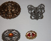 Antique Buckle Lot Victorian Sash Belt Buckle Steel Cut Beads Reverse Carved Cherries Buckle Metal Lion Tiger  Head  Amber Stone