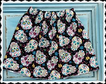 Girls skull skirt day of the dead skirt halloween skirt 2t 3t 4t 4/5 6/6x 7/8 10/12 womens XS S M L XL Ready to Ship