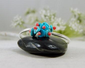 Sterling Silver Bangle Bracelet American Turquoise Coral Bracelet