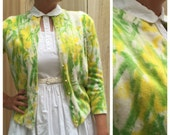 Sweet Vintage 50's Bright Yellow and Green Floral Hand Screen-Printed Button-up Cardigan Sweater by Tami | Medium