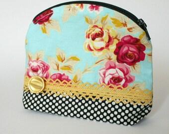 Pretty Little Zipper Bag Floral Lace Trim Makeup Pouch
