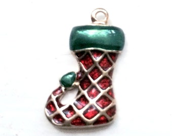 Christmas Stocking Charm, gold-plated and red and green enamel.