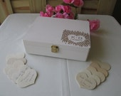 Wedding Guest Book Alternative Engraved Rustic Wedding Wood Box Personalized Set for 175 guests - Item 1665