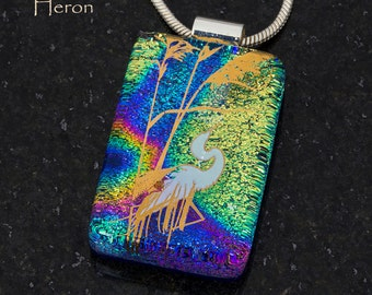Fused Glass Pendant by BluDragonfly SRA - Heron - Gold Metallic