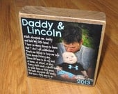 First Father's Day GIFT from baby- Walk With Me Daddy- First Father's Day PERSoNALIZED Larger Photo Poem Blocks