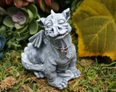 Baby Dragon Statue - READY TO SHIP Now - Sweet Celtic Moon Gazing Dragon - Soaking Up the Starlight