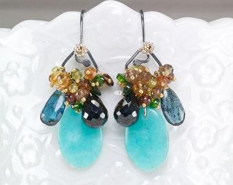 Amazonite, Moss Kyanite, Black Spinel, Citrine, Peridot gemstone cluster earrings, oxidised 925 Silver hooks ... TAWOOS Earrings