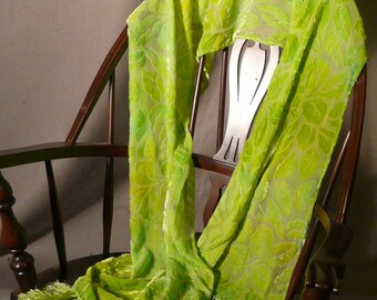 Burnout Velvet Scarf, Small Leaves, Hand Dyed, Lime Green