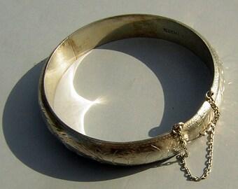 Sterling Silver Bangle Bracelet Engraved Hinged Vintage 925 Hallmark