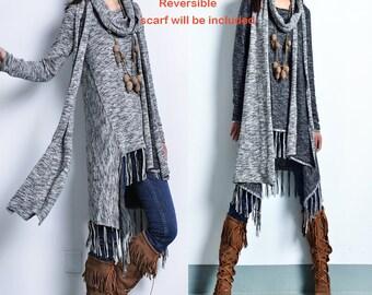 Dream - fringed cotton tunic dress and cotton scarf set / asymmetrical tunic dress / idea2lifestyle boho tunic dress / heather grey (Q1531)
