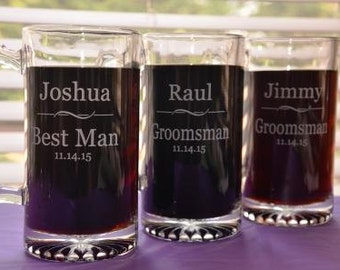 3 Personalized Engraved Wedding Party Glasses, Large 27 oz Glass Mug, Groomsmen, Best Man, Ushers Gift, Father of Groom, Father of Bride