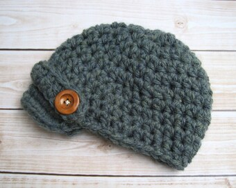 Newborn Boy Hat, Baby Boy Newsboy Hat, Infant Beanie, Newborn Winter Hat, Chunky Baby Winter Hat, Winter Beanie, Green