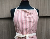 RESERVED Handmade Red Ticking Cafe Apron Bistro Apron And chef hat