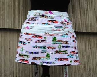 Vendor Apron Server Apron Mid Century Modern Suburbs Teacher Apron Craft Apron Zippered Apron