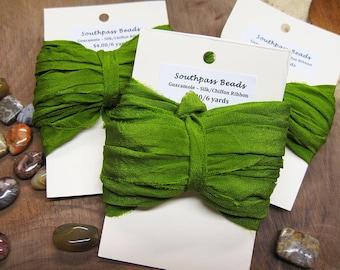 Guacamole Green Chiffon Ribbon 6 yards for Macrame Wrapping Knitting Kumihimo Knotting