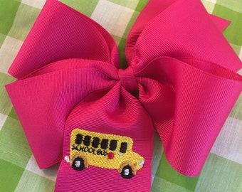 Embroidered School Bus Hair Bow Big Bow Boutique Accessory