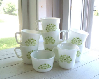 Summer Impressions 7 Coffee Cups Mugs and Cream and Sugar PYREX Corning NY USA Milk Glass