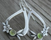 New Summer Happiness Peridot Sterling Silver Earrings PMC Artisan Jewelry August Birthstone