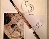 My Heart Swells ~ Collector's Set of Original Pen Line Drawing, Retired Studio Brush & Mini Archival Print