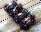 Lion Brand Fancy Fur Novelty Eyelash Yarn - Mixed Berries - Black, Purple, Pink