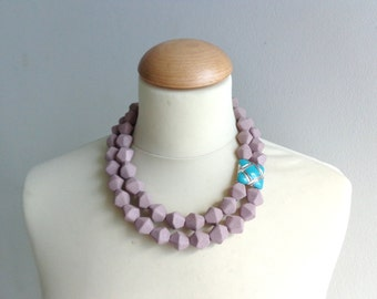 Brown turquoise statement necklace, double strand necklace