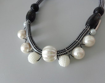 Pearl Black statement tribal necklace