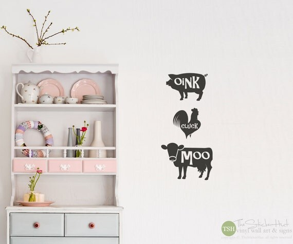 Items similar to oink cluck moo pig chicken cow kitchen Pig kitchen decor