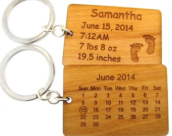 Maple Wood Calendar Key Chain - Special Date - Gift to Celebrate a New Born Baby (KC002)
