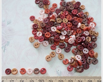 50 pcs Tiny Round Buttons Mixed Color Supply - Country Style -
