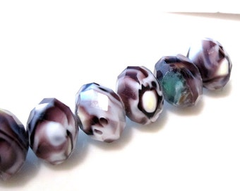 15 Brown, Purple and White 9x12, Rondelle Faceted Hurricane Glass Crystals GBW 034