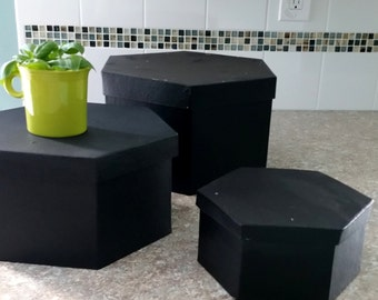 Set of 3 black paper mache boxes black home decor wedding bridal accessories storage decoration card boxees containers