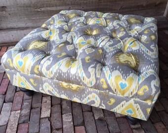 """New Custom Ottoman By Agamedi Designs 36"""" X 36"""" X 16.5""""h Beautiful Ikat Fabric"""
