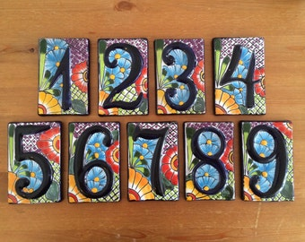 Talavera Tile Table numbers (number 5) Bridal Shower, Wedding, Rehearsal Dinner, Birthday, Fiesta, Cinco de Mayo